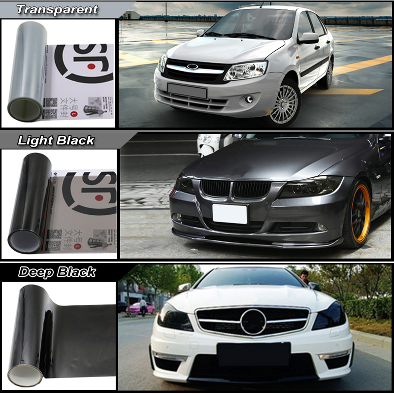 Image 2 - Carcardo 30cm x 200cm Car Headlight Taillight Tint Vinyl Film Sticker Car Fog Light Rear Lamp Viny Stickers  13 Color option-in Car Stickers from Automobiles & Motorcycles