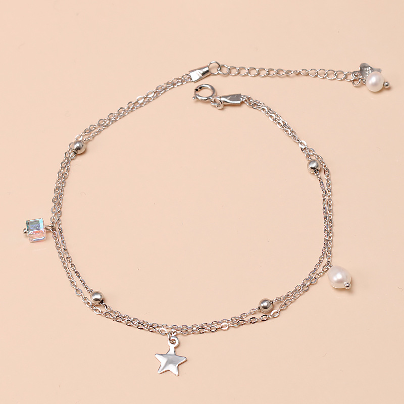 925 Sterling Silver Star Double-layer Foot Chain Anklet Fine Jewelry Female Simple Korean Style Pearl Tassel Accessories Student