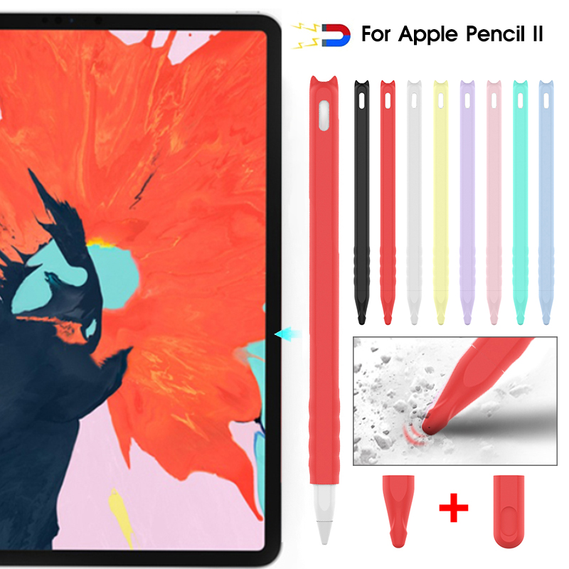 Cute Cat Ear Anti-scroll Silicone Protective Pouch Cap Holder Nib Cover Protective Case Skin For Apple Pencil 2nd Accessories