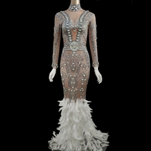 Tail-Dress Stage-Costume Crystals Celebrity-Party-Diamonds Sparkly Silver Evening White