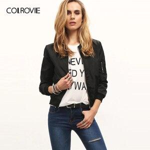Image 4 - Colrovie 블랙 스탠드 칼라 지퍼 자르기 자켓 여성 2019 가을 streetwear 패션 폭격기 자켓 숙녀 솔리드 겉옷