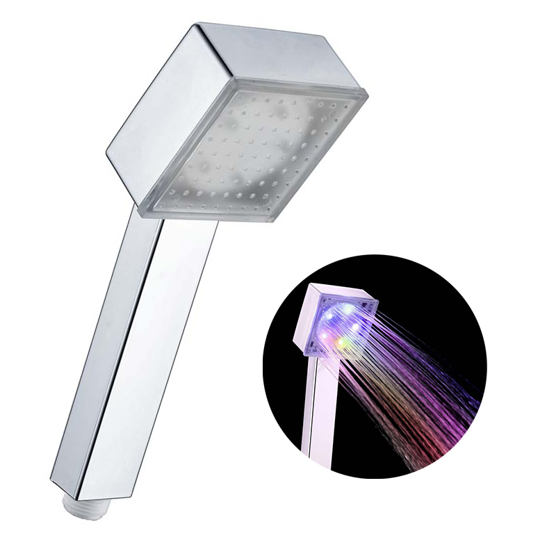 LED Square Rainfall Shower Head 7 Color Changing Shower Head No Battery Automatic Waterfall Shower Single Bathroom Showerhead 6