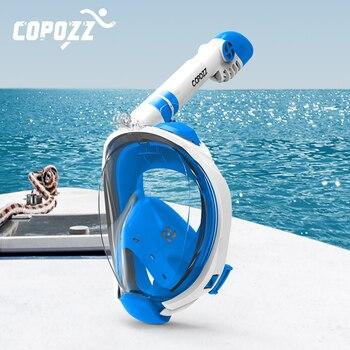 Máscara de buceo de cara completa antiniebla gafas con montura de cámara máscara respiratoria subacuática Snorkel máscara de natación para adultos jóvenes