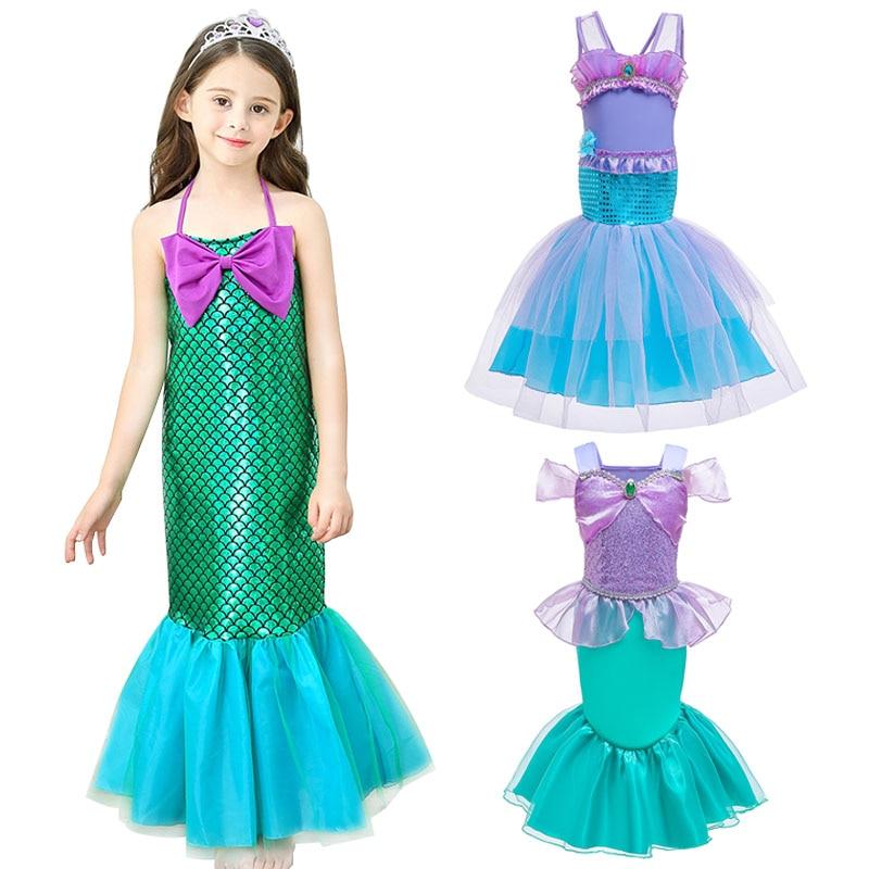 От 2 до 9 лет платье принцессы русалки; одежда для маленьких девочек на день рождения; Детский карнавальный костюм на Хэллоуин; детское плать...
