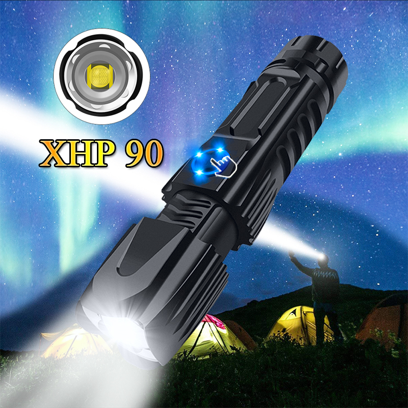 Most Powerful XHP90 LED Flashlight XHP70.2 Tactical Waterproof Torch Smart Chip Control With Bottom Attack Cone By 26650 Battery