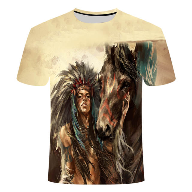 New Summer Top Fashion Indian Print T Shirt Men Women Animal Casual Hip Hop Tee Cool Mens Clothing Drop Ship
