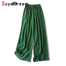Women Wide Leg Pants 100%Real Silk Crepe