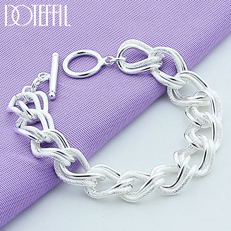 DOTEFFIL Beautiful Fashion Bracelet 925 Sterling Silver Charm Bracelet Gorgeous Jewelry Silver Chain Women Gift Party