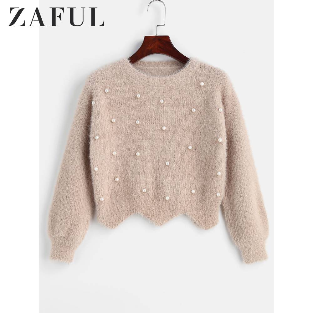 ZAFUL Crew Neck Beaded Fuzzy Sweater For Women Fuzzy-Knit Jumper Pullovers Solid Cute Style Full Sleeve Scalloped Tops Autumn