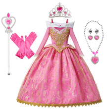 Girls Sleeping Beauty Aurora Princess Dress Long Sleeves Off Shoulder Lace Robe Kids Gorgeous Christmas Gift Fancy Party Outfits