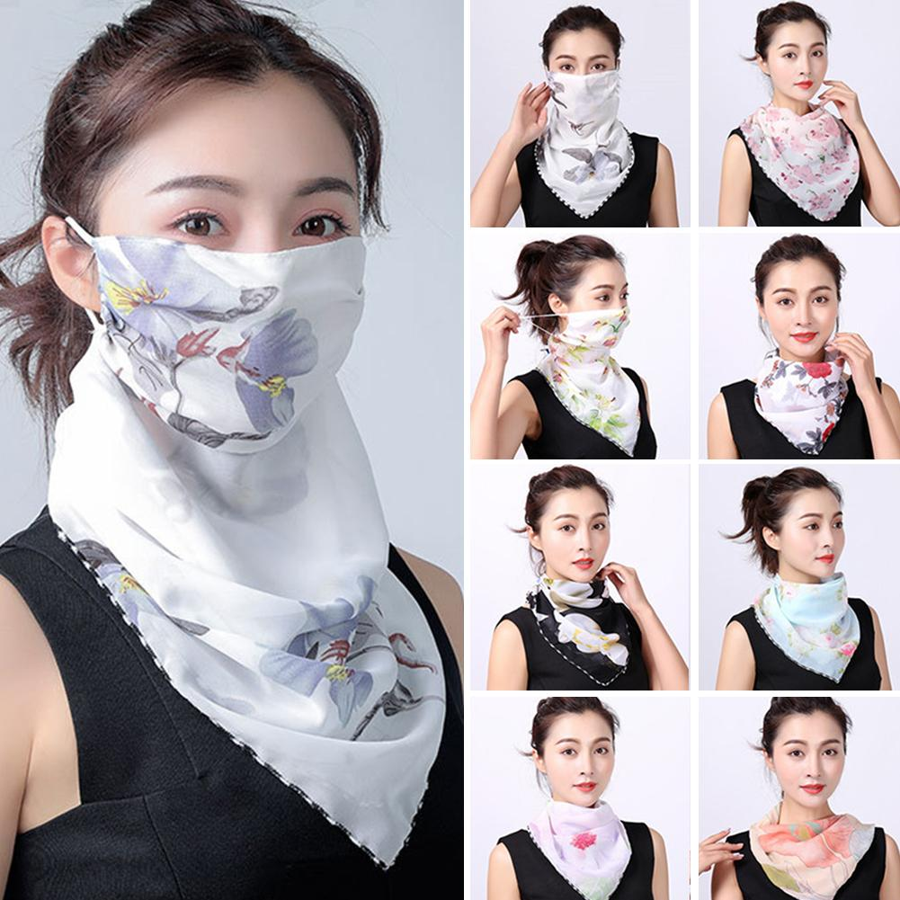 Summer Women Floral Print Anti-UV Dustproof Scarf Outdoor Sport Riding Face Cover Windproof Anti-spittle Anti-virus Safety Mask