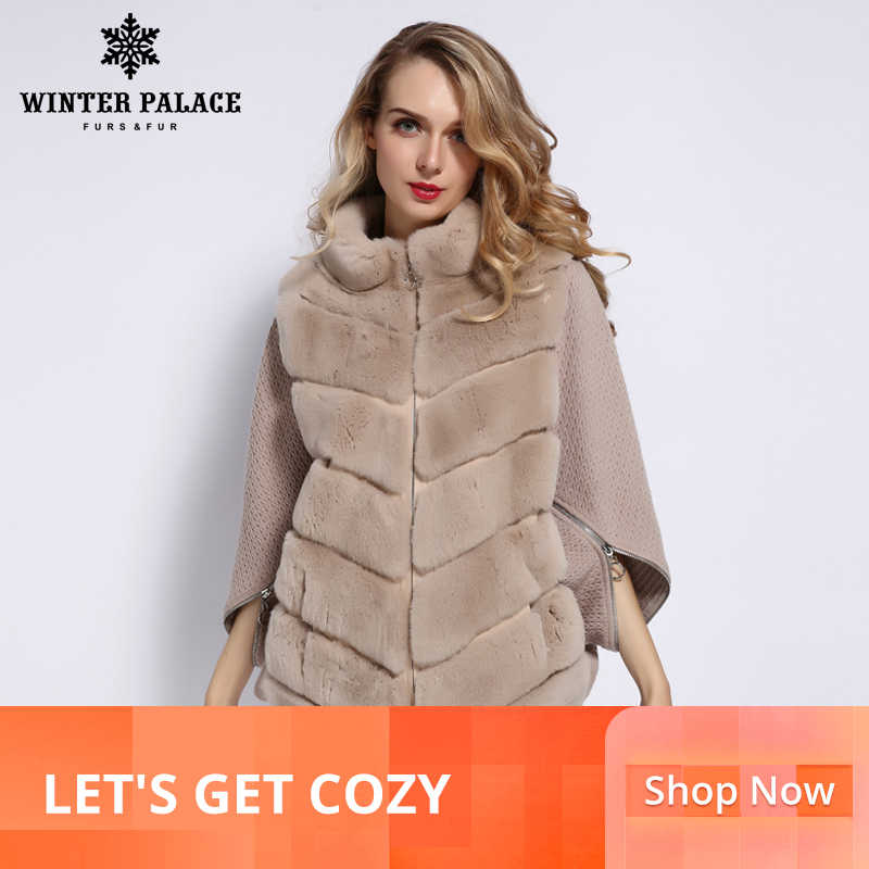 WINTER PALACE 2019 Women's Winter Rabbit Fur C0at Bat Stand Collar Cashmere Stitching Sleeves ShOrt Sleeve Jacket Fur C0at