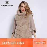 WINTER PALACE 2019 Women's Winter Rabbit Fur C0at Bat Stand Collar Cashmere Stitching Sleeves ShOrt Sleeve Jacket Fur C0at