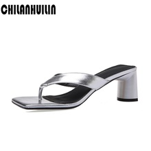 new slides sexy flip flops sandals genuine leather sqaure toe sandals women chunky heel summer beach sandals ladies high heels summer new sandals chunky heel floral silver wedding dress shoes rhinestone luxurious genuine leather prom party high heels