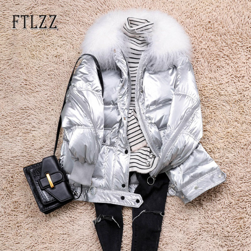 New Winter Thicken Warm White Duck   Down     Coats   Women Loose Casual Shoal Wool Collar   Down   Jackets Ladies Bright Silvery Jackets