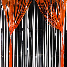 Halloween Party Photobooth Backdrop Stand Glitter Foil Sequin Curtain Tinsel Drapes Orange Black