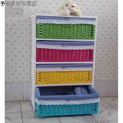 Соломенный тканый шкаф для хранения ящиков, прикроватный столик для сада, модная простая коробка для хранения детской одежды - 6