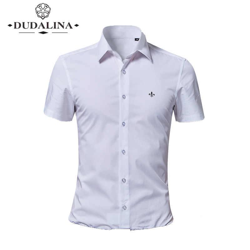 プラスサイズ 8XL Dudalina 刺繍 Blusa カミーサソーシャル Masculina 半袖スリムフィット花服白人男性
