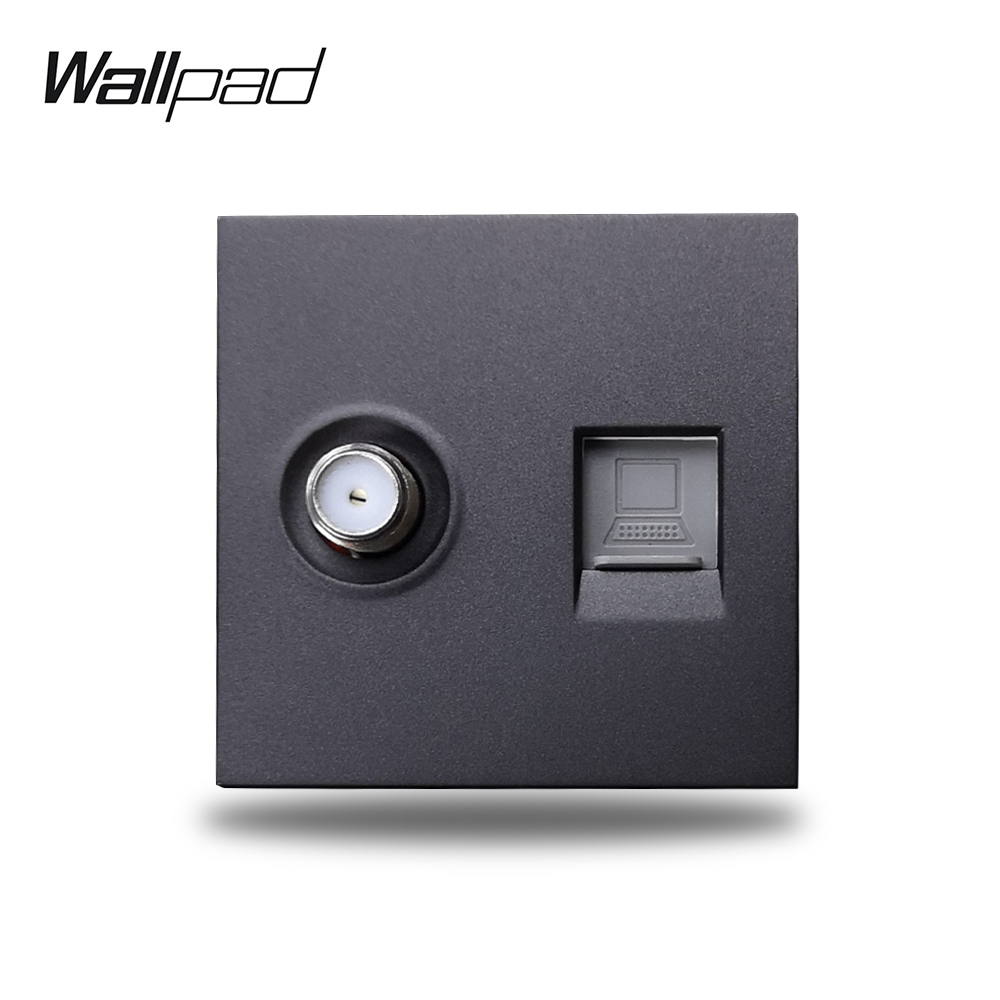 Wallpad S6 Black White Antenna Satellite TV Internet Data RJ45 CAT6 Wall Wiring Outlet Socket Modular DIY Free Combination