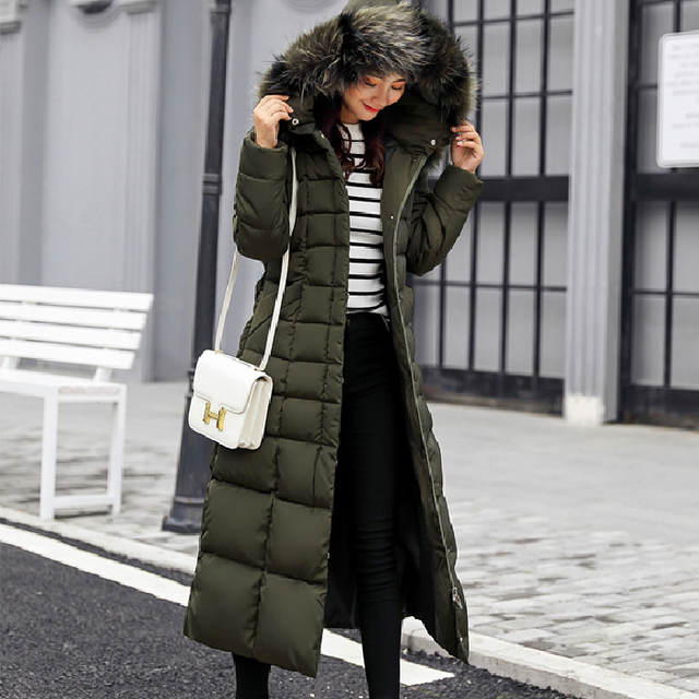 Winter jacket women's warm fashion bow belt fox fur collar coat long dress women's thick coat 43