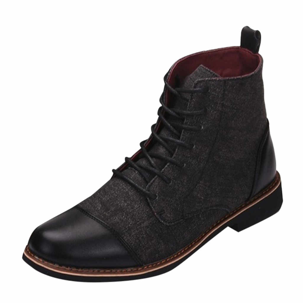 JAYCOSIN Mode Männer Stiefel Schnee Warme Plüsch Ankle Boot Mann Spitz Winter Casual Schuhe herren Lace-Up chelsea Stiefel Größe 39-48