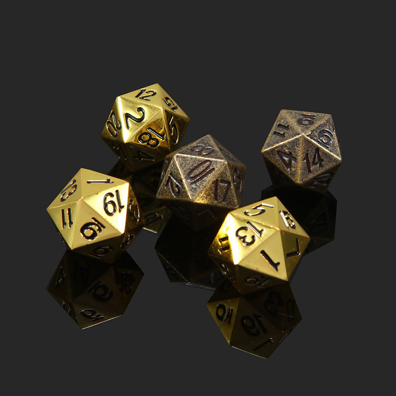 1 Piece Gold/Bronze Metal Funny Dice Standard 20 Sided Decider Board Game Acessorios