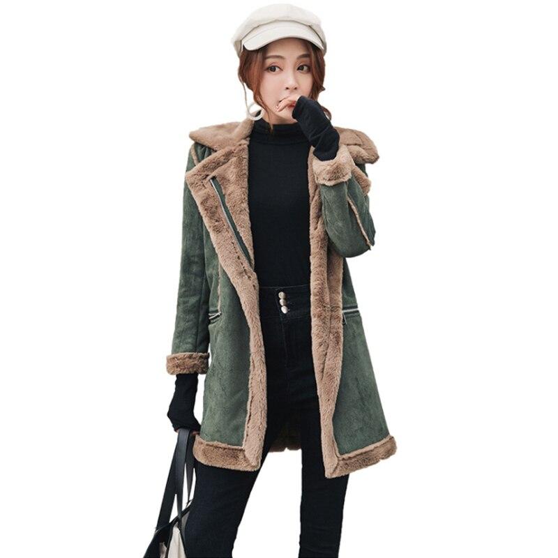 2020 Winter Woolen Coats Women Mid-Long Jackets Casual New Zipper Outerwear Deerskin Velvet Lamb Wool Thicken Cotton Tops Women