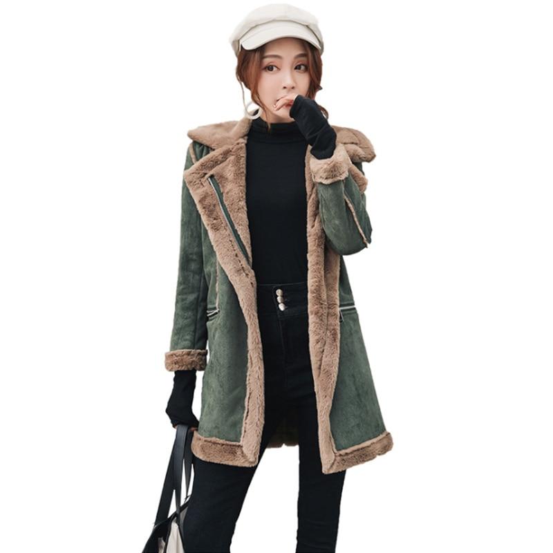 Winter Mid lange Katoenen jassen casual 2019 nieuwe winter vrouwen rits jassen hertenleer fluwelen lam wol dikker katoenen jas vrouwen-in Wol en mengsels van Dames Kleding op  Groep 1