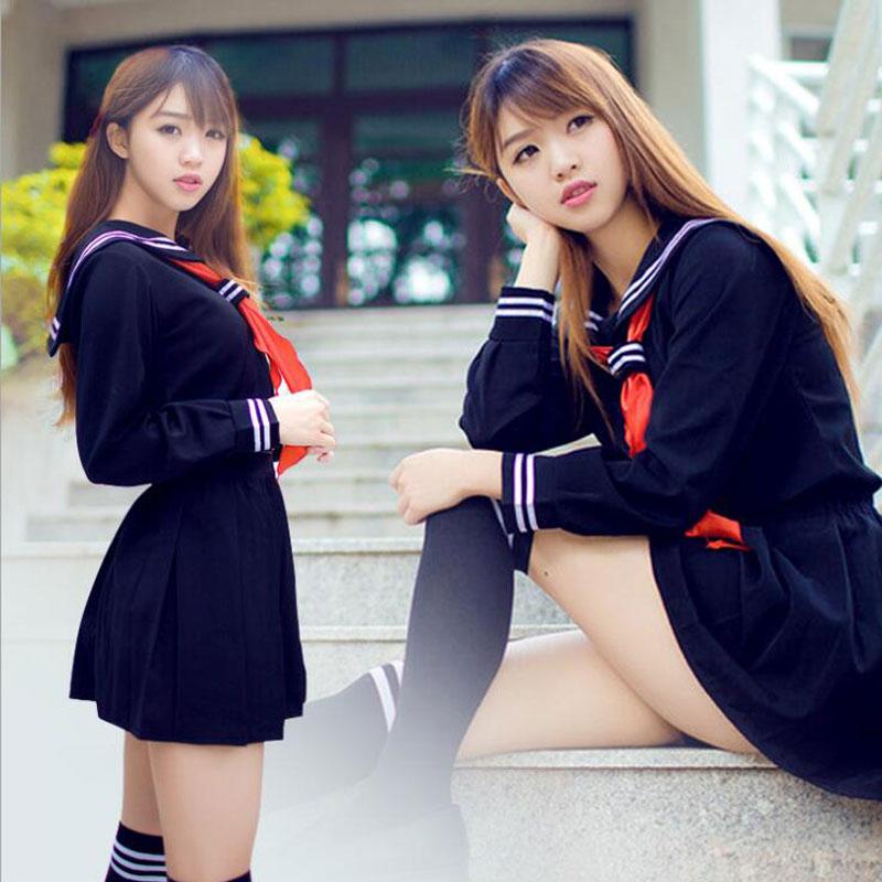 Japanese School Uniform Girls School Class Navy Sailor School Uniforms Hell Girl Enma Ai Anime Cosplay Girls Suit With Socks