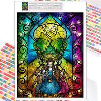 Pintura de diamantes de dibujos animados de Disney, arte de vitral, 5D, mosaico bordado, regalos, punto de cruz cuadrada completa, decoración del hogar