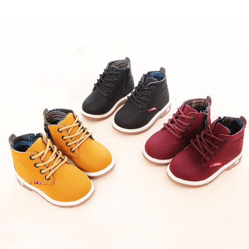 Лидер продаж, Детские Ботинки Martin, кожаная обувь для мальчиков, весна-осень, модные детские ботинки для девочек, Нескользящие новые ботинки