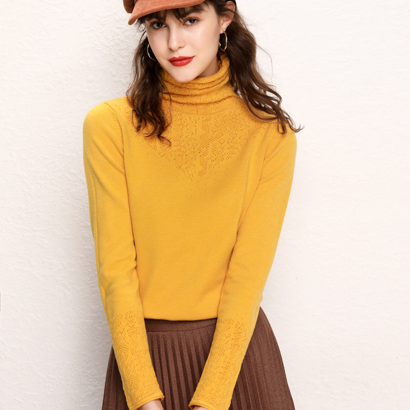 Winter Sweater For Women Turtleneck Fashion Hollow High Collar Full Sleeves Short Pullover Female Knitwear