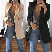 Meihuida, осенняя Женская мода, приталенный пиджак, пиджак, Женский офисный костюм, черный, с карманами, деловой Блейзер, пальто