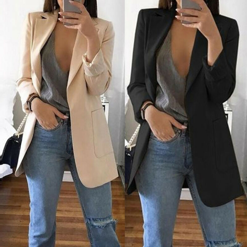 Meihuida Autumn Women Fashion Slim Blazers Suit Jacket Lady Office Suit Black With Pockets Business Notched Blazer Coat