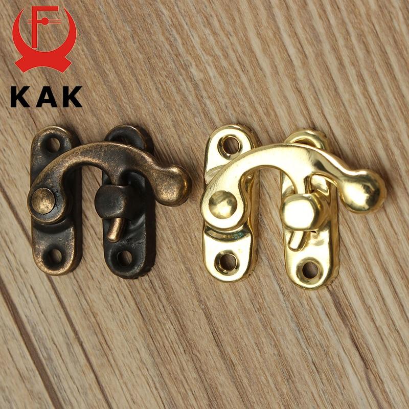 Купить с кэшбэком KAK 12pcs 34x28mm Antique Bronze Iron Padlock Hasp Hook Lock For Mini Jewelry Wooden Box With Screws Furniture Hardware