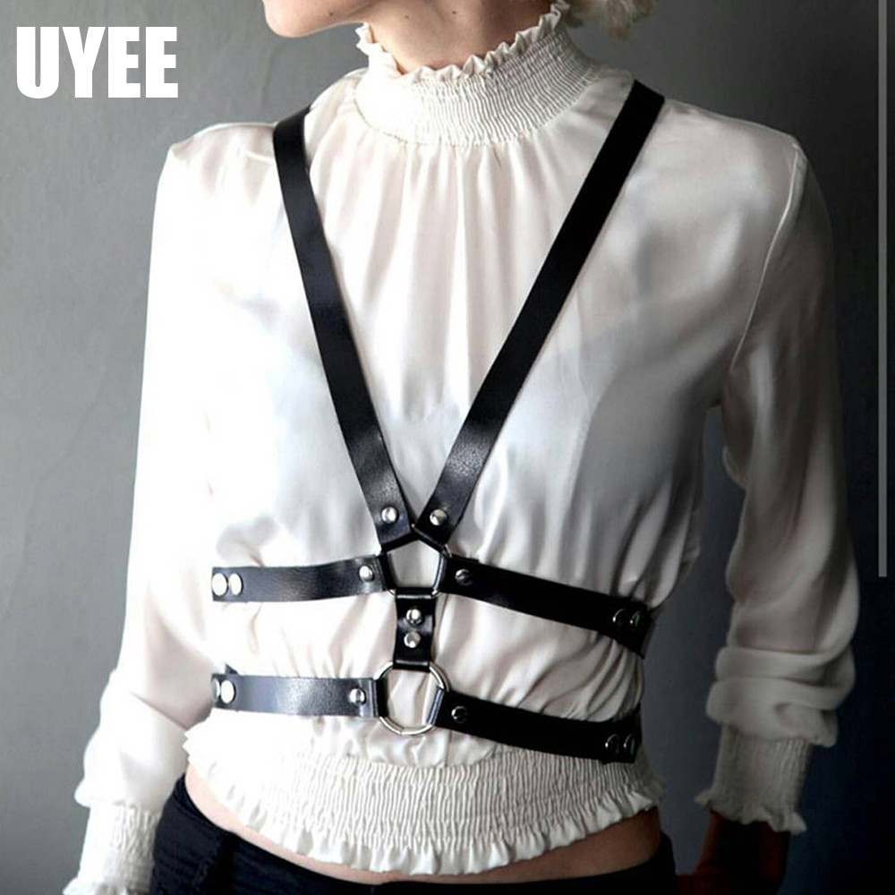 UYEE Sexy Lingerie Women Harness Wedding Garter Goth Garter Belts Women Ladies Harness Leather Suspenders For Women Harness Body