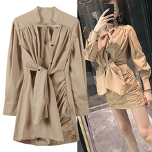 Dress female vintage  2019 popular shirt dress Lace straps chic gentle spring and autumn