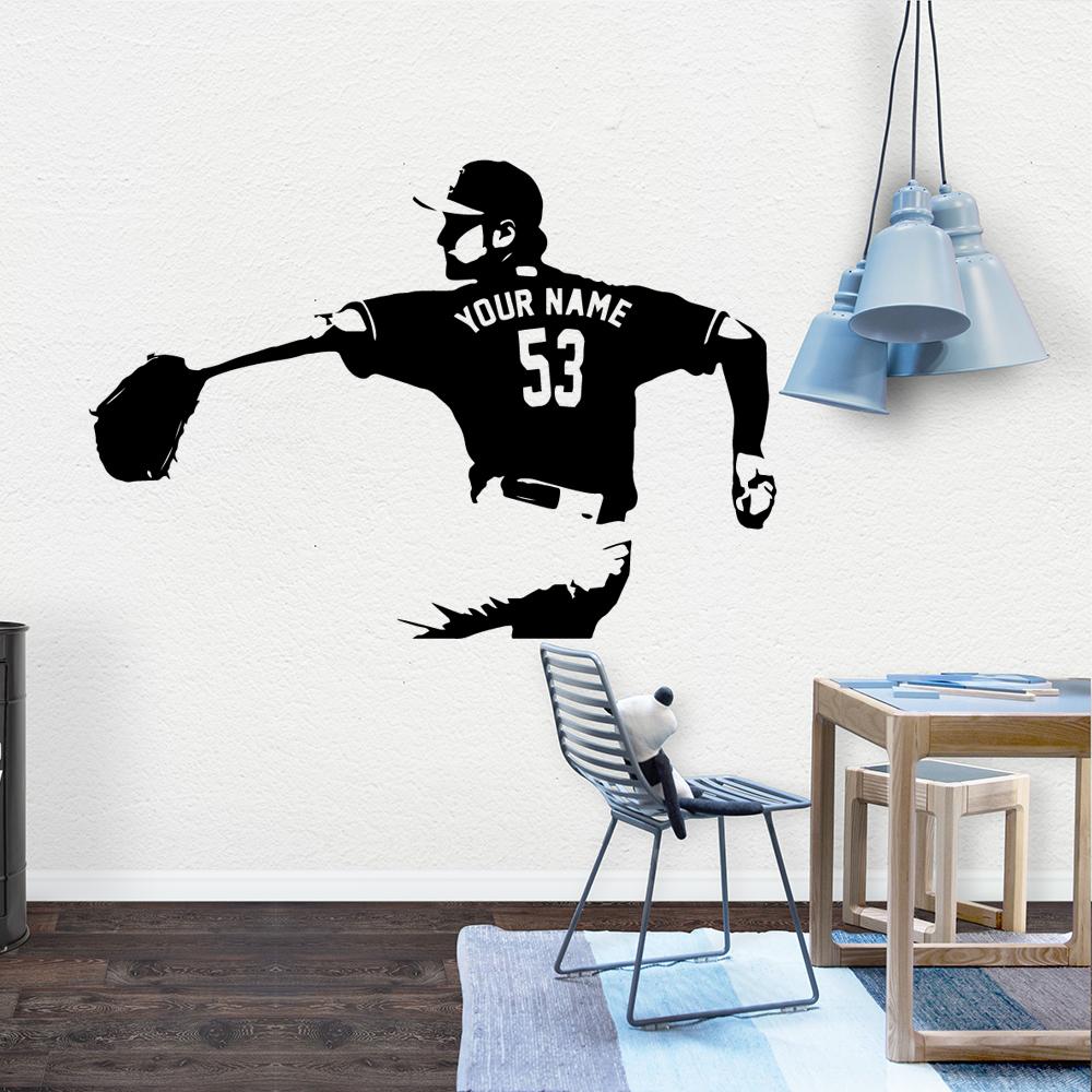 Custom name NEW Baseball Wall Art Decal Decoration Fashion Sticker Decorative Vinyl Wallpaper Bedroom Decor naklejki