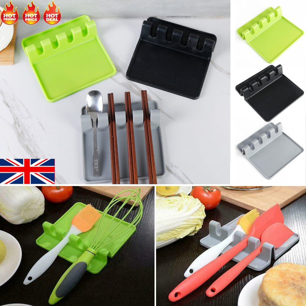 Kitchen Heat Resistant Silicone Spoon Rest Cooking Utensil Spatula Holder Tool