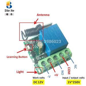 Image 2 - 433MHz האלחוטי אוניברסלי rf ממסר 12v 1CH מקלט מודול RF מתג 1 כפתור שלטים עבור שער מוסך פותחן