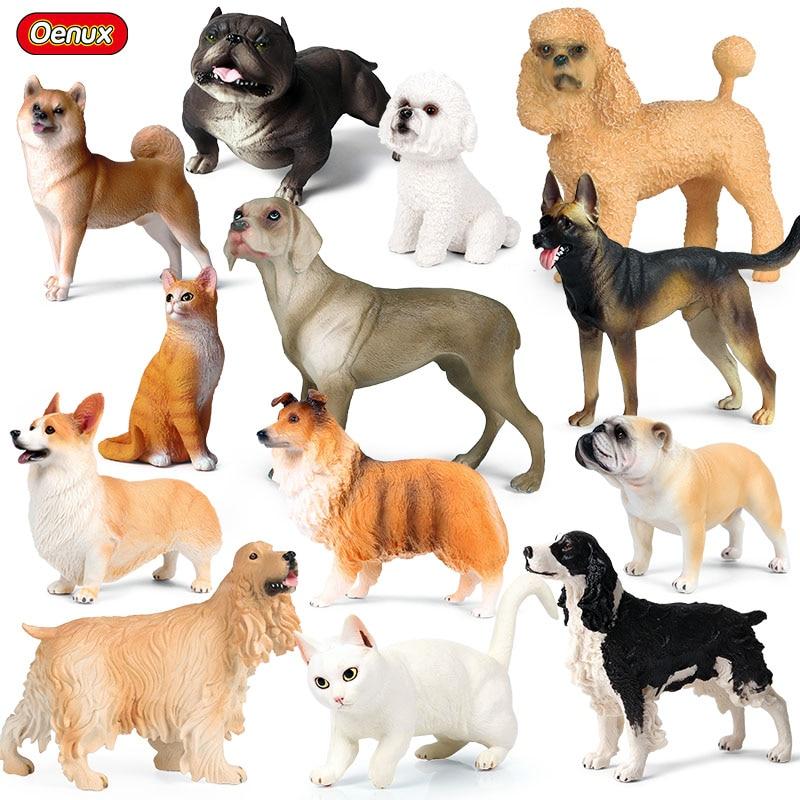 Oenux новая имитация животных для собак Шиба-ину, самоед пудель, Воловья собака, персидская кошка, фигурки, ПВХ, Милая модель, детские игрушки