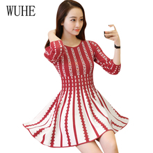 WUHE Autumn Winter Women Knitted Sweater Dress O Neck Long Sleeve A-Line Retro Waist Shaping Fashion Striped Mini Casual Dresses цены