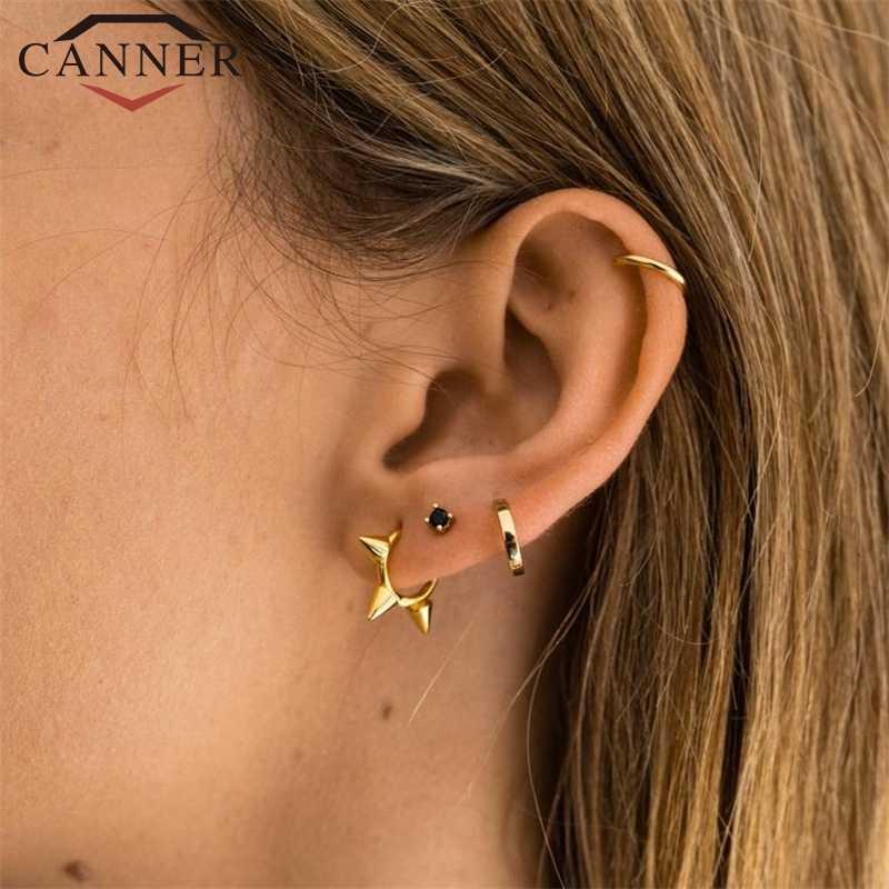 925 เงินแท้ลูกปัด Rivet ต่างหูผู้หญิงรอบขนาดเล็ก Hoop ต่างหู INS เครื่องประดับหู