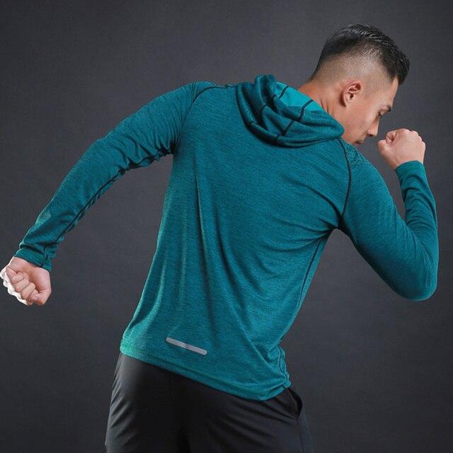 Hooded Running Shirt Gym Men Sport T Shirt Long Sleeve Sportswear Workout Shirts Men Sports Shirt Top Jersey Fitness Clothing