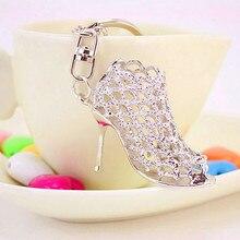 Handbag-Accessories Keychain Keyrings Pendant Women for Girls Shoes Crystal-Alloy High-Heels