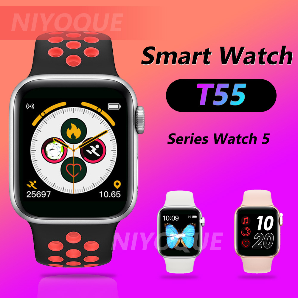 Smart Watch T55 Full Screen Touch Double Strap Heart Rate Blood Pressure Activity Tracker Fitness Band Smartwatch Iwo