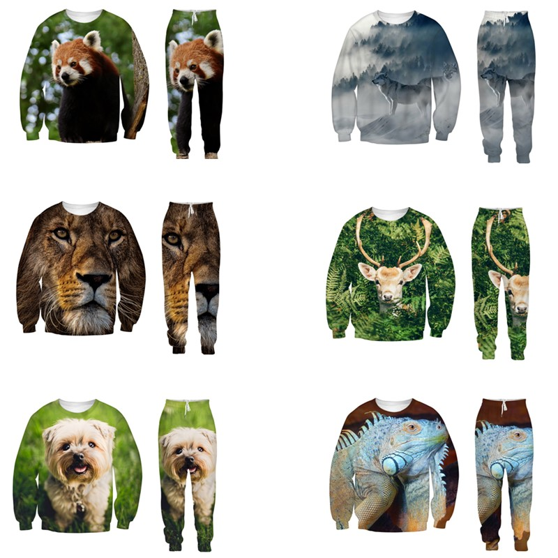 EAnvog 3D Printed Animals Pattern Loose Tops Trousers Couple 2 Pieces Sets Funny Sweatshirts Sweatpants Casual Clothes Suits
