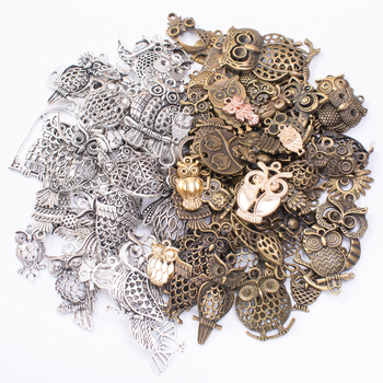 50g 100g Mixed Charms Pendants Owl Animal for Bracelets Necklaces Anklet DIY Accessories for Wholesale Craft Jewelry Making 10pcs tree branch leaf metal charms pendants brooch necklaces bracelets charms findings diy for jewelry making craft wholesale