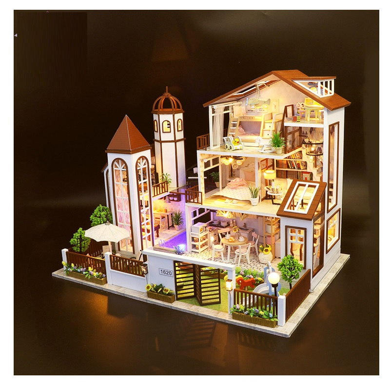 Big Castle Original lols Wooden Dollhouse Educational Toys villa style doll  house Christmas
