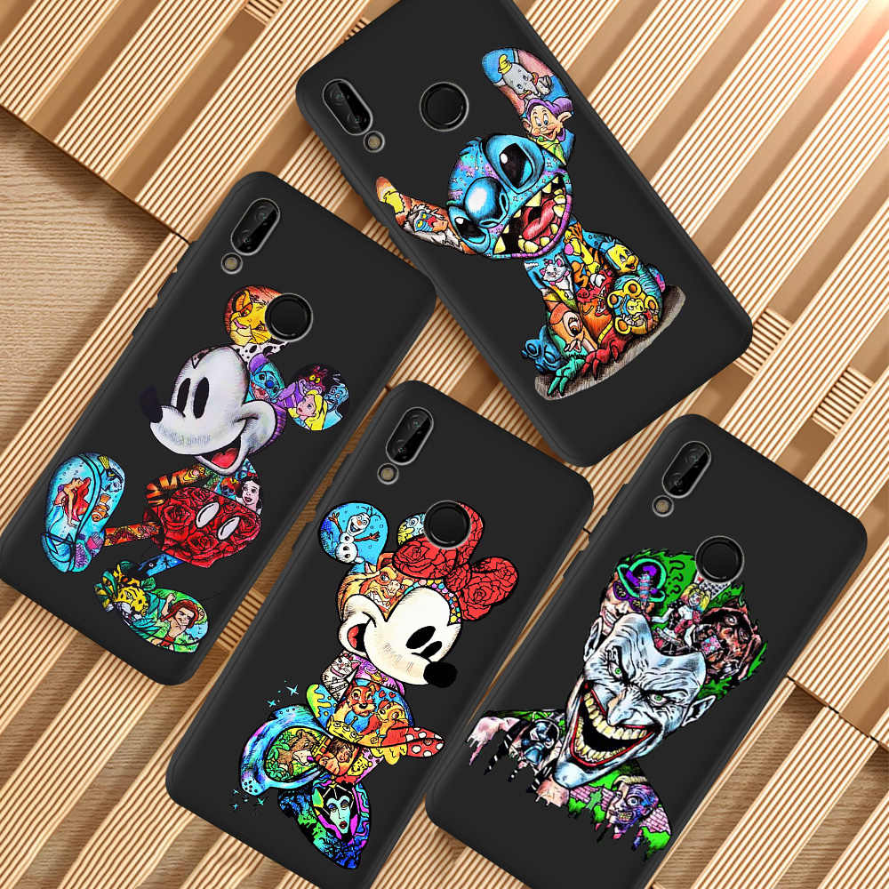 Minnie Mouse Kartun Stitch Funda untuk Huawei P8 P10 P20 P30 Mate 10 20 Honor 8 8X 8C 9 10 v20 Lite Plus Pro Ponsel Case Penutup